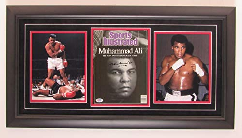 - Muhammad Ali Signed SI Cover & 8x10 Photo Collage Framed PSA/DNA 143663