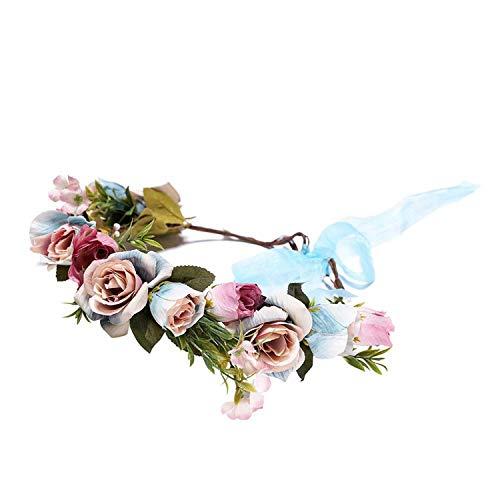 Flower Crown Wedding Bride Wreath Bangle of Flowers Head Band Bohemia Women Hair Accessories Flower Headband Headpiece,wreath blue ()