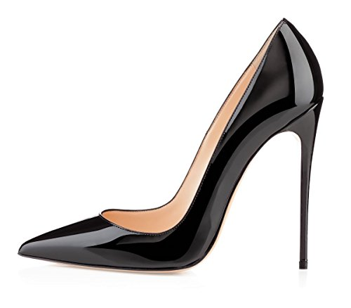 YODEKS Womens Pointed Toe High Heels Slip On Stiletto Pumps Wedding Party Basic Shoes 12cm