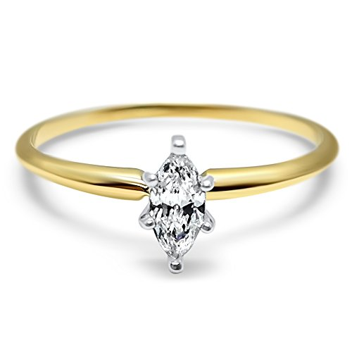 Eternal Jewelry Minimalist 1/2 Carat Cubic Zirconia Marquise Engagement Ring Dainty Delicate 14k Yellow Gold ()