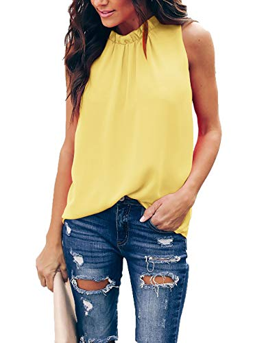 Women Summer Cold Shoulder Sleeveless Silk Chiffon Blouses O Neck Tops Yellow 2XL