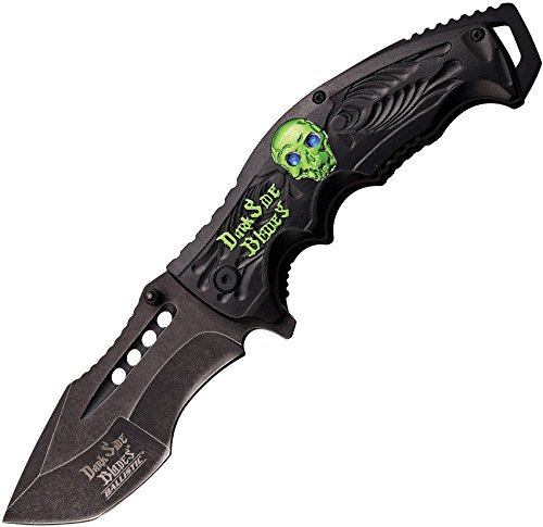 Dark Side Blades DS-A044GN-MC DS-A044GN Black & SW Blade Aluminum with 2 Color Anodized Handle Folder Knife, 4.5