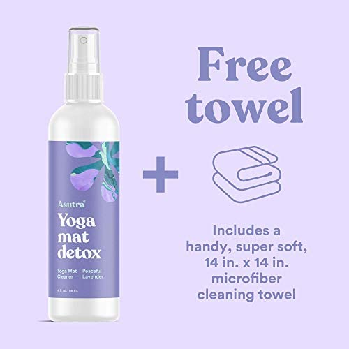 ASUTRA Natural & Organic Yoga Mat Cleaner (Peaceful Lavender Aroma), 4 fl oz | Safe for All Mats & No Slippery Residue | Cleans, Restores, Refreshes | ...