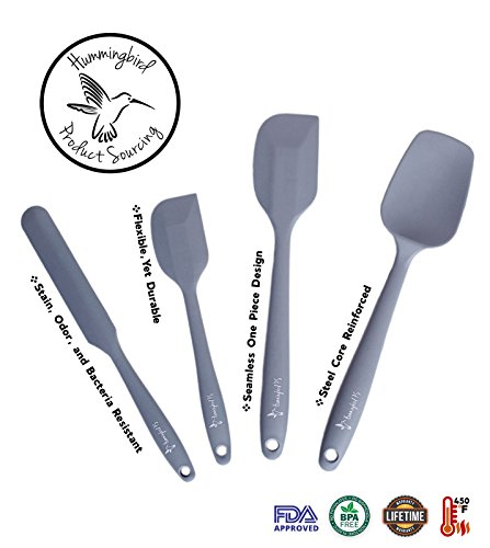 Hummingbird PS Silicone Spatula Set, Spatulas & Baking Spoon, Heat Resistant 450F, Stainless Steel Core, Non-Stick Silicone Rubber, BPA Free, Pro Food Grade - Versatile Cooking, Mixing - Grey by Hummingbird PS (Image #2)