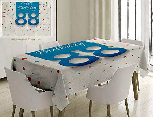 Unique Custom Cotton And Linen Blend Tablecloth 88Th Birthday Decorations Celebration Letters On Polka Dots Points Backdrop Stylish Pattern MulticolorTablecovers For Rectangle Tables, 60 x 40 Inches