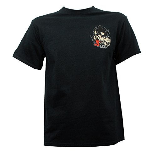 Lucky 13 Men's No Club Top Hat Lone Wolf T-Shirt Black