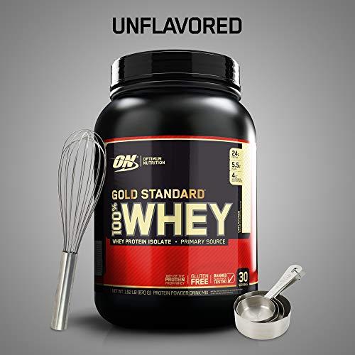 Optimum Nutrition Gold Standard 100% Whey Protein Powder, Keto Friendly, Unflavored, 2 lb