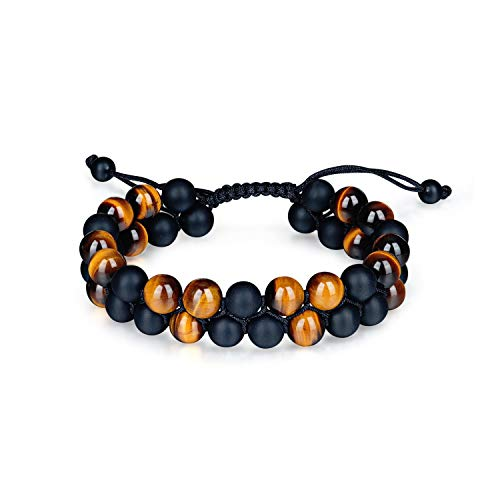 (ELEMEN Tigers Eye Bracelet Men Women - Natural 8mm Onyx Lava Rock Tiger Eye Beads Bracelet Yoga Chakra Healing Stone Bracelet Adjustable 7