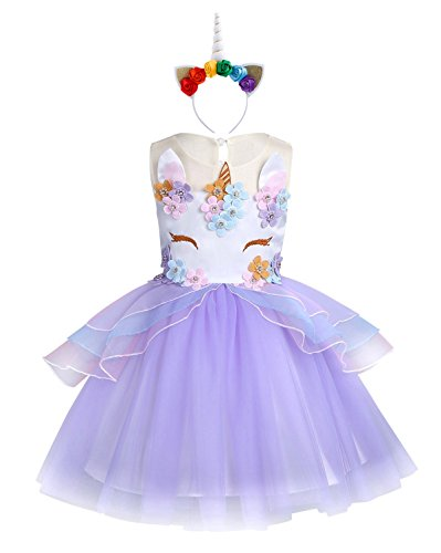 KABETY Baby Girl Unicorn Costume Pageant Flower Princess Party Dress with Headband (140cm, Purple) -