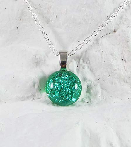 Dainty Dichroic Handcrafted Birthstone Fused Glass Pendant May Emerald w - Dichroic Pendant Green