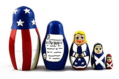 Matryoshka Matrioska Babuska Russian Nesting Wooden Doll US Patriotic Symbols Babushka 5 Pcs Stacking Hand Painting Beautiful Nested Matriosjka Matreoska Matreshka Matrjoska Matroeska