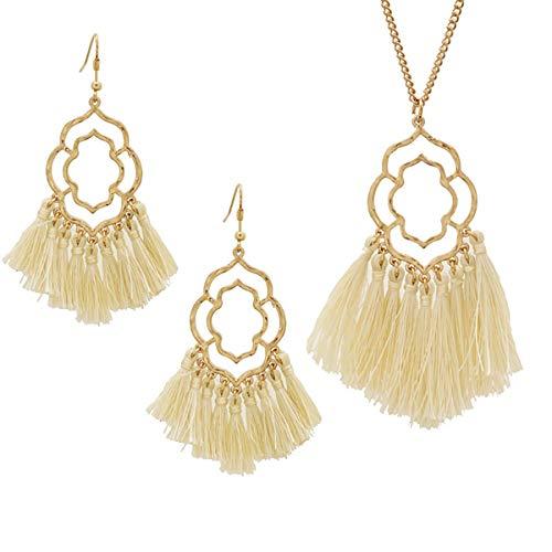 Stylish LeNese Ornate Shape Thread Tassels Pendant Long Gold Tone Necklace and Earring Set (Winter White)
