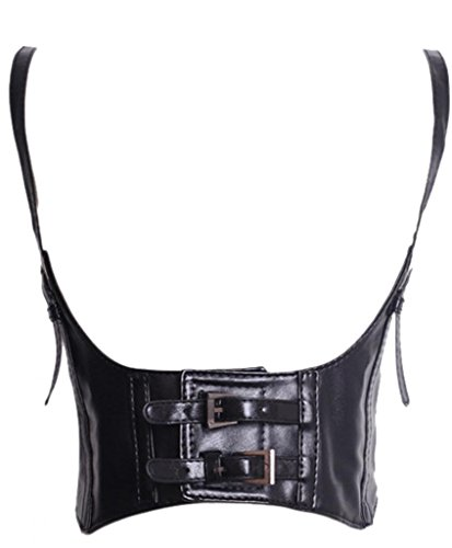 Alivila.Y Fashion Womens Faux Leather Underbust Waist Belt Steampunk Corset Vest AS577-Black-S (Leather Harness Belt)
