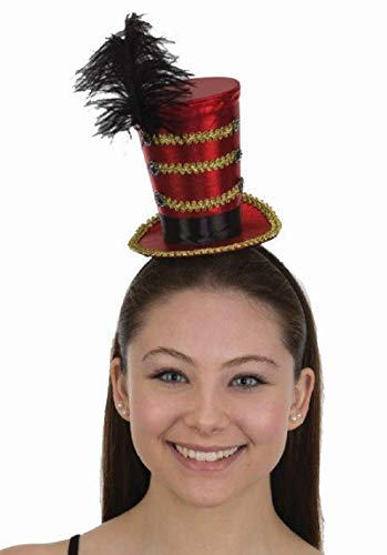 Circus Ringmaster Majorette Mini Cocktail Top Hat w Feather Costume (Pictures Of Homemade Clown Costumes)