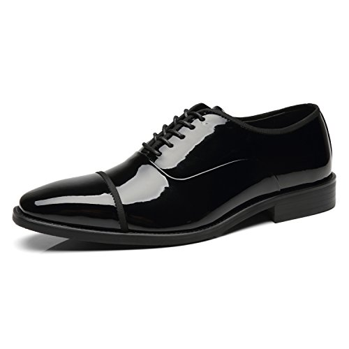 Faranzi Patent Leather Oxford Shoes for Men Cap Toe Lace up Tuxedo Shoes Zapatos de Hombre Comfortable Classic Modern Formal Business Wedding Shoes - Leather Patent Leather Tuxedo