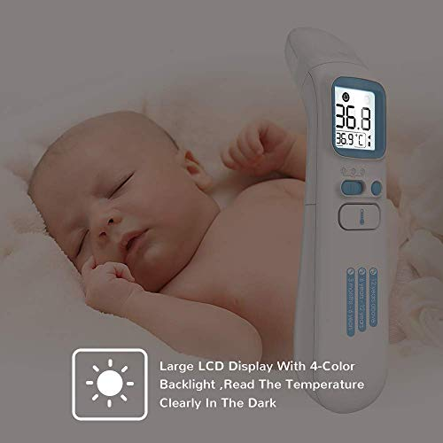 Ear and Forehead Thermometer for Adults and Kids, Infrared Digital Personal Thermometer with LCD Display | Forehead and Ear Thermometer for Fever with Quick Reading, Memory Function