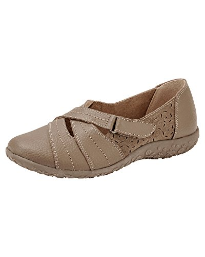 Cotton Traders Ladies Womens Leather Flexisole Adjustable Shoes Breathable Beige ExZqy