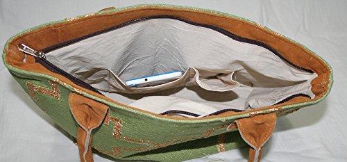 silkroude Sac en cuir véritable utilisation Kilim Tapis Kilim Sac en coton fait main Sacoche pour femmes vert