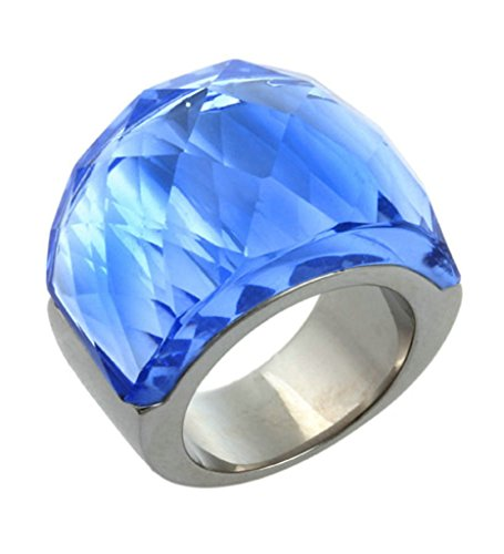 Ice King Costume Pattern (Beydodo Stainless Steel Women Rings Gothic Vintage Transparent Glass Bands, Blue, Size 7)