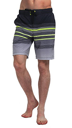 Price comparison product image MOUNTEC Men's Swim Trunks Black Gray and Green Stripes Printing Board Shorts Large