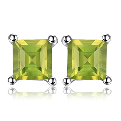 Jewelrypalace Gemstones Stone Birthstone Natural Peridot Stud Earrings For Women 925 Sterling Silver Earrings For - 3 Stone Princess Earrings