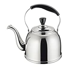 Stainless Steel Whistling Tea Kettle Stove Top Teapot Pot with Bakelite Handle, Mirror Finish, 1.6 Quart, Silver Tone