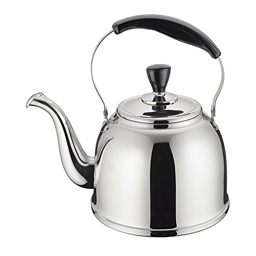Stainless Steel Whistling Tea Kettle Stove Top Teapot Pot with Bakelite Handle, Mirror Finish, 1.6 Quart, Silver Tone (Vintage Silver Teapot)