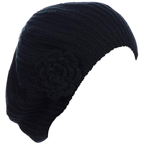 (BYOS Ladies Winter Solid Chic Slouchy Ribbed Crochet Knit Beret Beanie Hat W/WO Flower Adornment, Soft Touch (Black Flower))