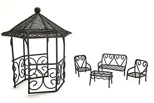 Assembled by PaBu GuLi Fairy Garden Accessories - Set with Rustic Looking Wire Gazebo and 4 Piece Micro Mini Patio Furniture Set by Assembled by PaBu GuLi
