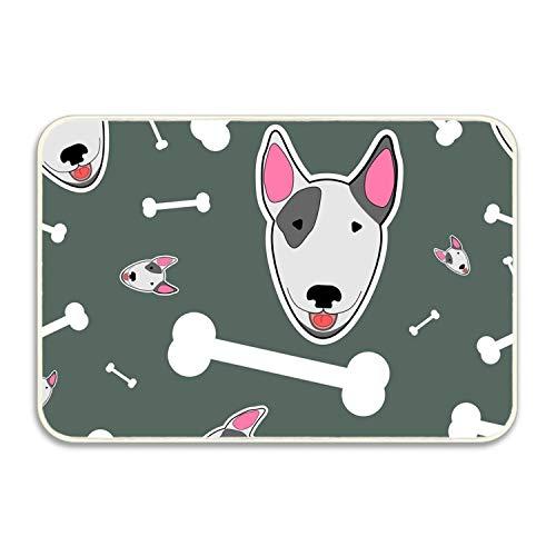 Niaocpwy Non-Slip Outdoor/Indoor with Bull Terrier and Bones Doormat,16 x 24 inch, Entry Way Shoes Scraper Patio - Bull Bone Terrier