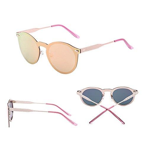 Montura Mujer Hombre Sol Polarizado Sin Espejo Redondas Gafas Una Dorado Rosa Pieza Polarizadas Reflexivo Halo Jim Anteojos de q1HFyY