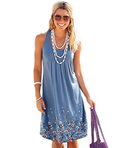 Akery Womens Summer Casual Sleeveless Mini Printed Vest Dresses Blue Large