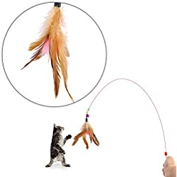 Tinksky Kitten Cat Pet Toy Wire Chaser Wand Teaser Feather With Bell Beads Play Fun (Random colour)
