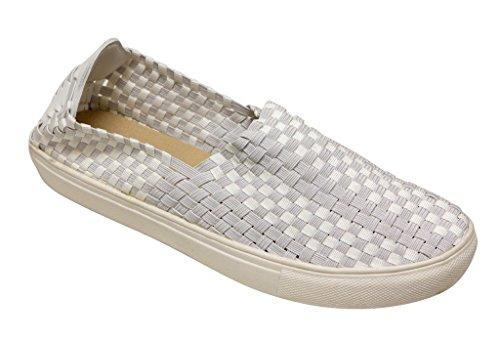 Per Sempre Amar-12 Donna Punta Tonda In Criss Cross Elastico Superiore Comfort Slip On Flat Bianco 10