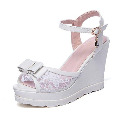 AmoonyFashion Womens Buckle PU Peep Toe High-Heels Solid Sandals White i18fC9dx