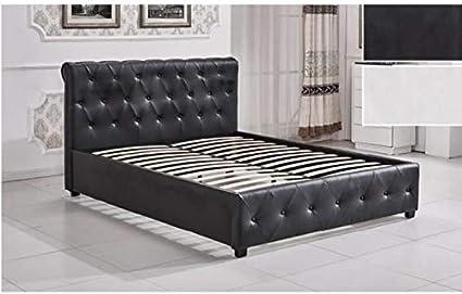 Lucky - Cama de adulto negro con somier con cabecero de cama ...