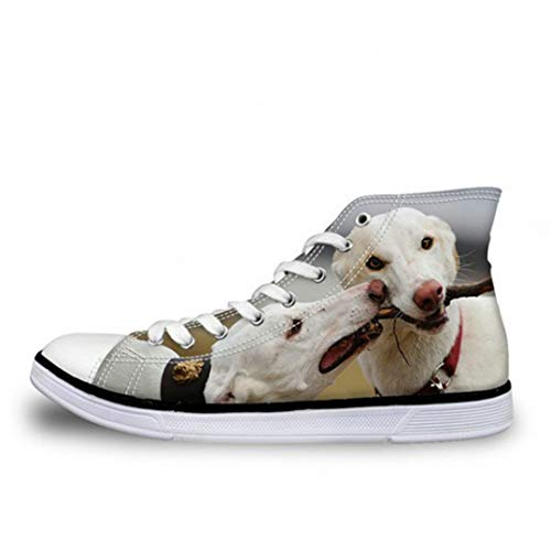 (JOYBI Women's Flat Canvas Shoes Printed Pet Dogs Pattern High Top Comfortable Vulcanize)