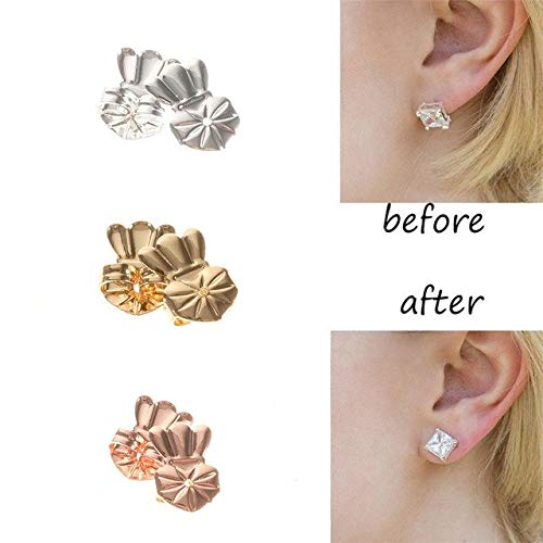 AmzonBasics - Original Magic Earring Lifters ❤ 3 Pairs of Adjustable Earring Lifts + Bonus 3 Pairs Earring Backs (Pair of Sterling Silver, Pair of 18K Gold Plated and Pair of Rose Gold) CROCODILOO KIDS