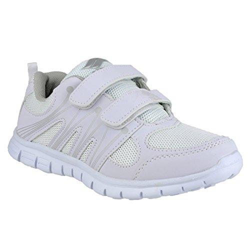 Mirak Milos Kinder Jungen Turnschuhe / Sneakers mit Klettverschluss Weiß