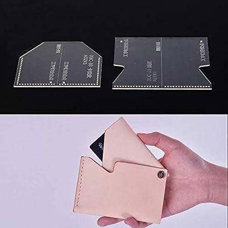 P Prettyia 5pcs Klar Acryl-Schablonen Leder-Handwerk Quilting Vorlagen zum Herstellen von Brieftasche Kreditkartenetui