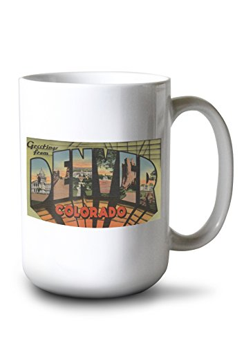 (Lantern Press Greetings from Denver, Colorado - Vintage Halftone (15oz White Ceramic Mug))