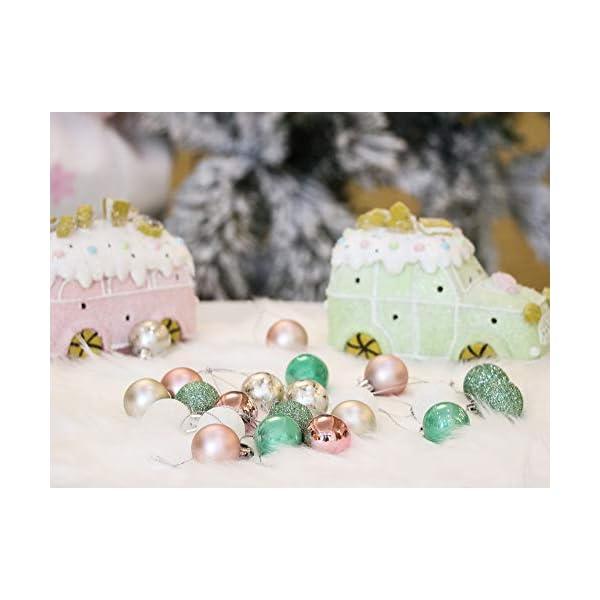 Valery Madelyn Palle di Natale 49 Pezzi 3 cm Palline di Natale, Elegante Palazzo Verde Menta e Oro Rosa Infrangibile Palla di Natale Ornamenti Decorazione per la Decorazione Dell'Albero di Natale 6 spesavip