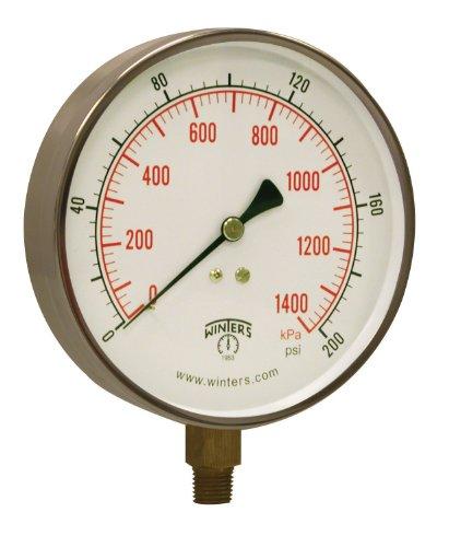 Winters PCT Series Stainless Steel 304 Dual Scale Contractor Pressure Gauge, 0-60 psi/kpa, 4-1/2
