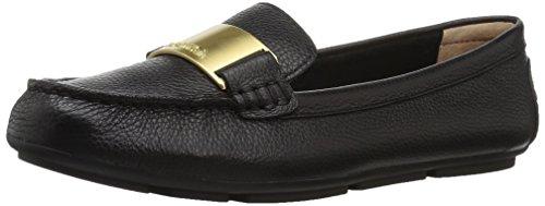 Calvin Klein Women's Lisette Loafer Flat, Black Tumbled Leather, 10 Medium US
