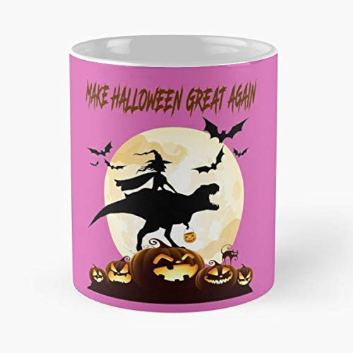 Funny Witch Riding Dinosaur Make Halloween Great Again Pumpkin New Gift Idea T Rex Shirt Shirts For Men Toddler - 11 Oz Coffee Mugs Ceramic The Best Holidays, Item Use Daily]()