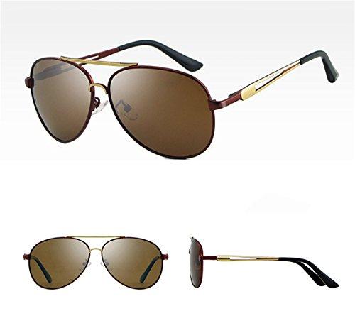 oro ULTRAVIOLETA de del personalidad polarización de hombres sol RFVBNM de al aire manera Marco marco conducen Gafas de libre que la las sol la de anti marrón dorado de marco gafas los wqnIn4xfa