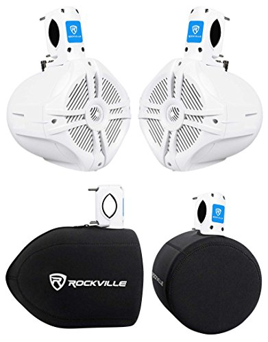 """Pair Rockville RWB65W 6.5"""" Black 250 Watt Marine Wakeboard Tower Speakers+Covers"""