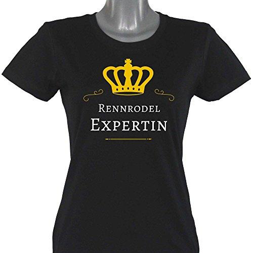T-Shirt Rennrodel Expertin schwarz Damen Gr. S bis 2XL, Größe:XXL