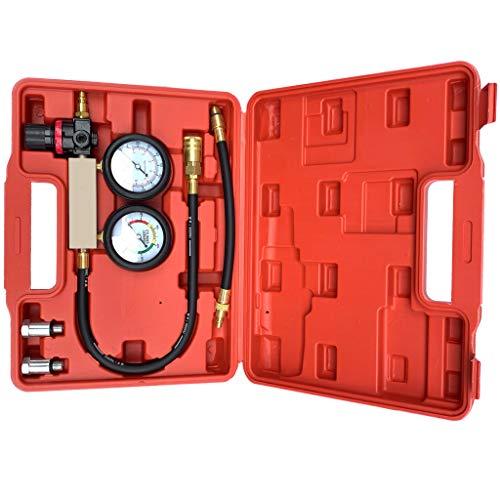 Cylinder Leak Detector - Engine Compression Tester Kit Piston Ring, Valve, Head Gasket Diagnosis Leakage Test Set Petrol Leak Down Detector Kit (Red)