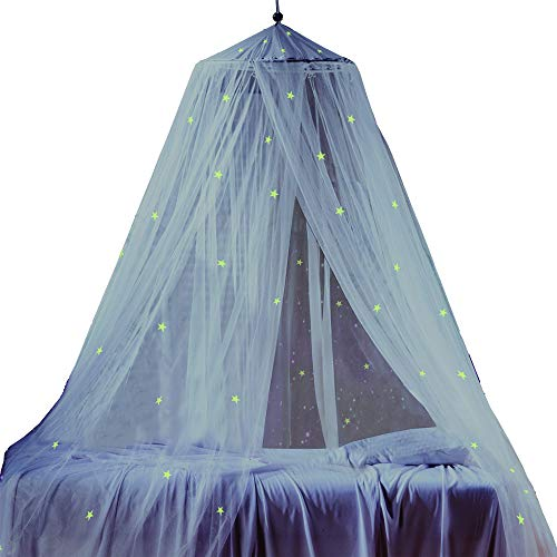 White Twin Canopy - Bed Canopy with Fluorescent Stars Glow in Dark for Baby, Kids, Girls Or Adults, Anti Mosquito As Mosquito Net Use to Cover The Baby Crib, Kid Bed, Girls Bed Or Full Size Bed, Fire Retardant Fabric
